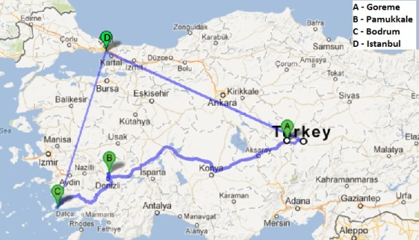 Map of our mini Turkey Tour